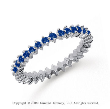 3/5 Carat Sapphire Platinum Round Open Prong Eternity Band