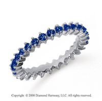 1 Carat Sapphire Platinum Round Open Prong Eternity Band