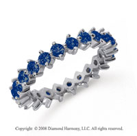 1 1/2 Carat Sapphire Platinum Round Open Prong Eternity Band