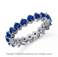 2 Carat Sapphire Platinum Round Open Prong Eternity Band
