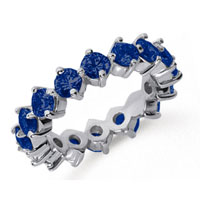 3 Carat Sapphire Platinum Round Open Prong Eternity Band