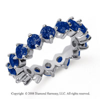 3 1/2 Carat Sapphire Platinum Round Open Prong Eternity Band