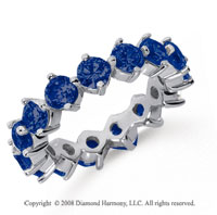 4 Carat Sapphire Platinum Round Open Prong Eternity Band