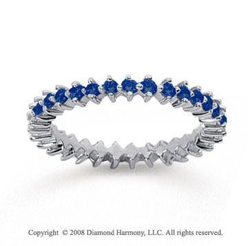 3/5 Carat Sapphire 14k White Gold Round Open Prong Eternity Band