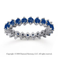 1 1/2 Carat Sapphire 14k White Gold Round Open Prong Eternity Band