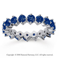 2 1/2 Carat Sapphire 14k White Gold Round Open Prong Eternity Band