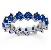 4 Carat Sapphire 14k White Gold Round Open Prong Eternity Band