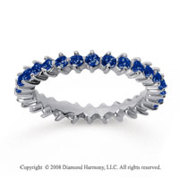 1 Carat Sapphire 18k White Gold Round Open Prong Eternity Band