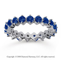 2 Carat Sapphire 18k White Gold Round Open Prong Eternity Band