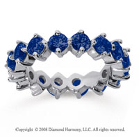 3 Carat Sapphire 18k White Gold Round Open Prong Eternity Band