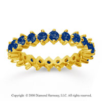 1 1/2 Carat Sapphire 14k Yellow Gold Round Open Prong Eternity Band