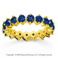 2 1/2 Carat Sapphire 14k Yellow Gold Round Open Prong Eternity Band