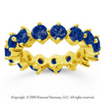 4 Carat Sapphire 14k Yellow Gold Round Open Prong Eternity Band