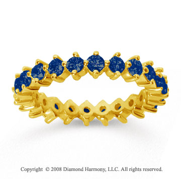 1 1/2 Carat Sapphire 18k Yellow Gold Round Open Prong Eternity Band