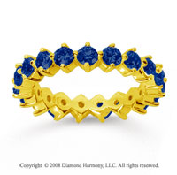 2 Carat Sapphire 18k Yellow Gold Round Open Prong Eternity Band