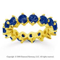 4 Carat Sapphire 18k Yellow Gold Round Open Prong Eternity Band