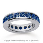 3 Carat Sapphire 14k White Gold Channel Eternity Band