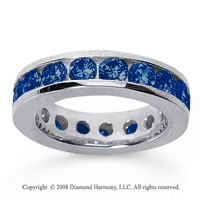 3 1/2 Carat Sapphire 14k White Gold Channel Eternity Band