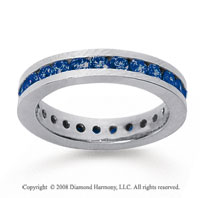 1 Carat Sapphire 18k White Gold Channel Eternity Band