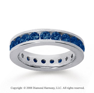 1 1/2 Carat Sapphire 18k White Gold Channel Eternity Band