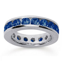 3 1/2 Carat Sapphire 18k White Gold Channel Eternity Band