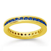 3/4 Carat Sapphire 14k Yellow Gold Channel Eternity Band