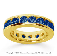 3 1/2 Carat Sapphire 14k Yellow Gold Channel Eternity Band