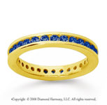 3/4 Carat Sapphire 18k Yellow Gold Channel Eternity Band