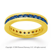 1 Carat Sapphire 18k Yellow Gold Channel Eternity Band