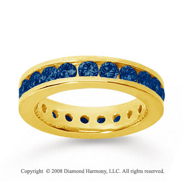 1 1/2 Carat Sapphire 18k Yellow Gold Channel Eternity Band