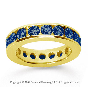 3 Carat Sapphire 18k Yellow Gold Channel Eternity Band