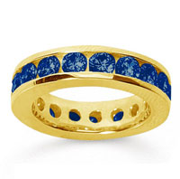 3 1/2 Carat Sapphire 18k Yellow Gold Channel Eternity Band