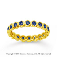 1/2 Carat Sapphire 14k Yellow Gold Round Bezel Eternity Band