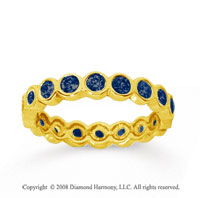 1 Carat Sapphire 14k Yellow Gold Round Bezel Eternity Band
