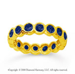 1 1/2 Carat Sapphire 14k Yellow Gold Round Bezel Eternity Band
