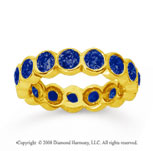 2 Carat Sapphire 14k Yellow Gold Round Bezel Eternity Band