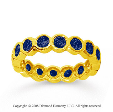 1 1/2 Carat Sapphire 18k Yellow Gold Round Bezel Eternity Band