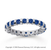 1 Carat Sapphire 18k White Gold Eternity Round Bar Band