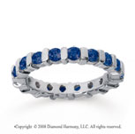 1 1/2 Carat Sapphire 18k White Gold Eternity Round Bar Band