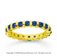 1 Carat Sapphire 14k Yellow Gold Eternity Round Bar Band