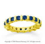 1 1/2 Carat Sapphire 14k Yellow Gold Eternity Round Bar Band