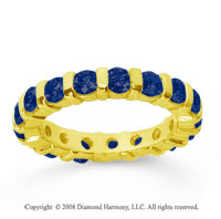 2 Carat Sapphire 14k Yellow Gold Eternity Round Bar Band