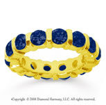 4 Carat Sapphire 14k Yellow Gold Eternity Round Bar Band