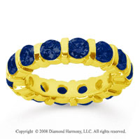 4 Carat Sapphire 18k Yellow Gold Eternity Round Bar Band