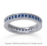 3/4 Carat Sapphire 14k White Gold Milgrain Prong Eternity Band