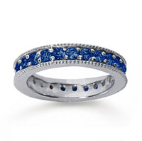 1 1/4 Carat Sapphire 14k White Gold Milgrain Prong Eternity Band