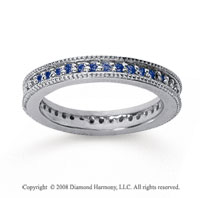 1/2 Carat Sapphire 18k White Gold Milgrain Prong Eternity Band