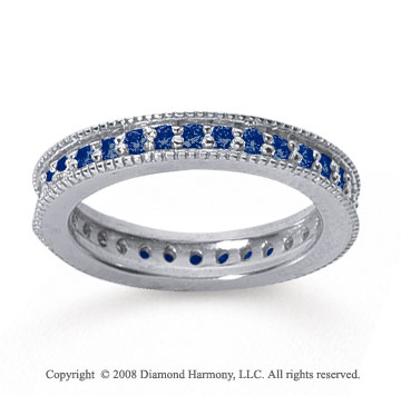 3/4 Carat Sapphire 18k White Gold Milgrain Prong Eternity Band