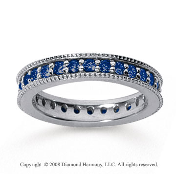 1 Carat Sapphire 18k White Gold Milgrain Prong Eternity Band