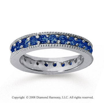 1 1/4 Carat Sapphire 18k White Gold Milgrain Prong Eternity Band